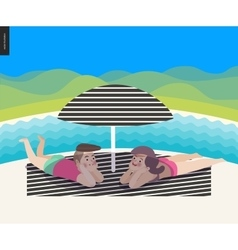 Beach scene with a landscape vector image