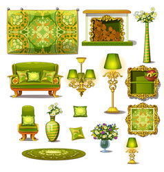 furniture green vintage style big set vector image