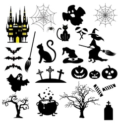 Halloween black and white icons set vector image vector image