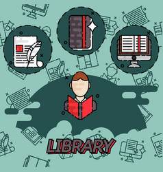 library flat concept icons vector image vector image