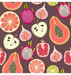 Seamless exotic fruit vector image