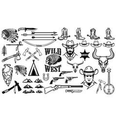 big set of wild west iconscowboys indians vintage vector image vector image