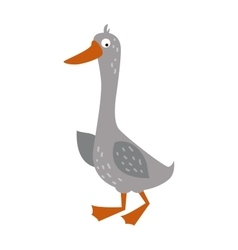 Cartoon goose with big eyes and yellow beak farm vector image