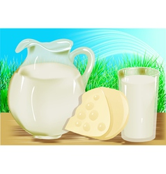 Cheese milk jug vector image vector image