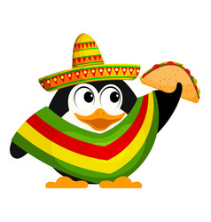 cute little penguin with a poncho sombrero and a vector image vector image