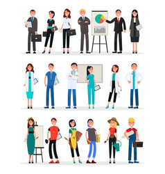 different work teams set professional staff vector image vector image