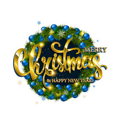 merry christmas lettering with golden vector image vector image