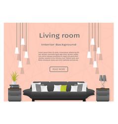 Modern living room interior banner website vector