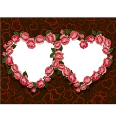 rose flowers two hearts frame pattern vector image vector image