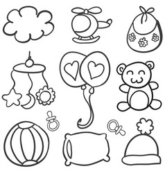 collection of baby theme doodles vector image vector image