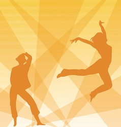 Contour of dancing girls on an orange background vector image