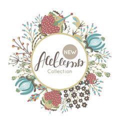 new autumn collection fall floral round frame vector image