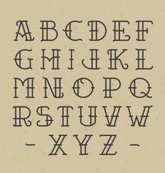 Old school tattoo alphabet vector