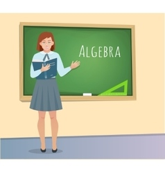 Teen Pupil standing at the blackboard vector image vector image