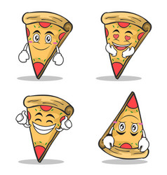 collection set pizza character cartoon vector image vector image