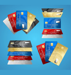 credit plastic card set vector image vector image