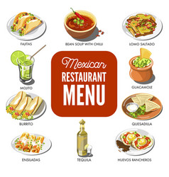 mexican food cuisine traditional dish icons vector image
