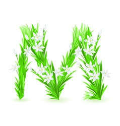 spring flowers alphabet m vector image vector image