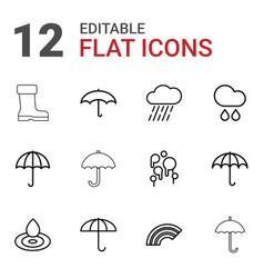 12 rain icons vector image