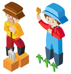3d design for two farmers vector image