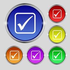 A check mark icon sign Round symbol on bright vector image