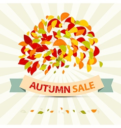 Abstract Autumn Sale with Leaves on Retro Ba vector