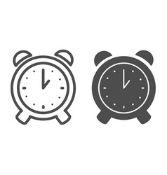 Alarm clock line and glyph icon alert vector