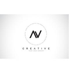 Av a v logo design with black and white creative vector