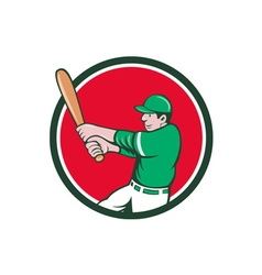 Baseball player batter swinging bat circle cartoon vector