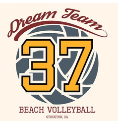 Beach Volleyball Team T-shirt Typography vector image vector image