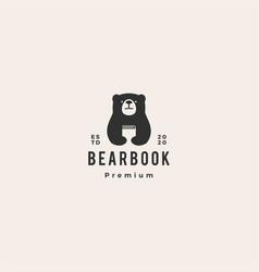 Bear book logo icon hipster vintage retro vector