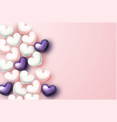beautiful background with realistic hearts on vector image