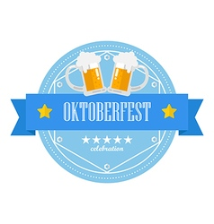 Beer festival Oktoberfest retro flat badge vector image