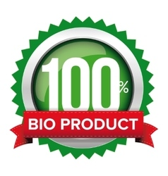 Bio product badge with red ribbon vector