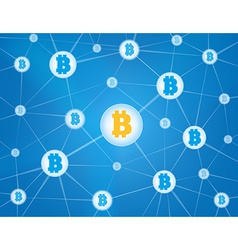 Bitcoin network blue background vector image