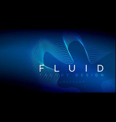 blue neon particles glowing fluid wave lines vector image