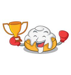 Boxing winner cinnamon roll mascot cartoon vector