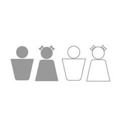 boy and girl icon grey set vector image