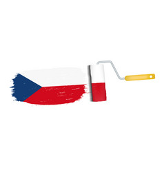 brush stroke with czech republic national flag vector image