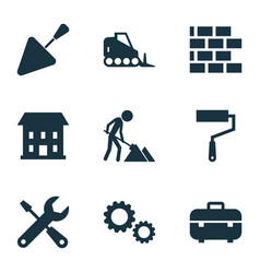 Building icons set collection of tractor vector