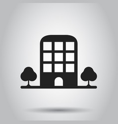 building with trees icon business vector image