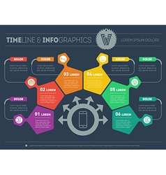 Business plan with 6 steps infographic with design vector