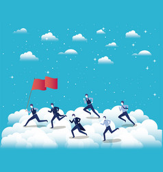 businessmen competing in the sky vector image