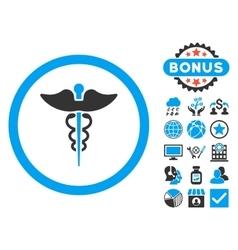 Caduceus Flat Icon with Bonus vector