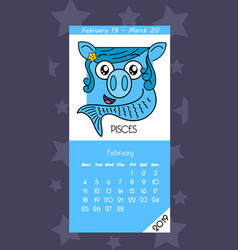 calendar for february 2019 vector image