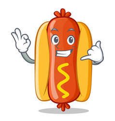 Calling hot dog cartoon character vector