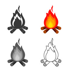 Campfire with firewood icon of vector