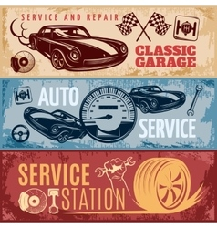 Car Repair Banner Set vector image