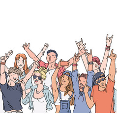 cartoon crowd people at music festival or rock vector image