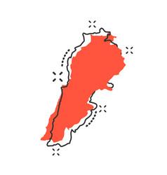 Cartoon lebanon map icon in comic style lebanon vector